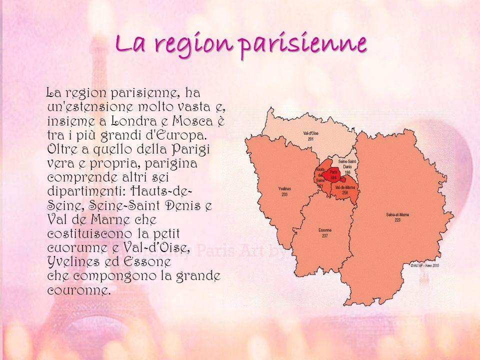 La region parisienne La region parisienne, ha un'estensione molto vasta e, insieme a Londra e Mosca è tra i più grandi d'Europa. Oltre a quello della
