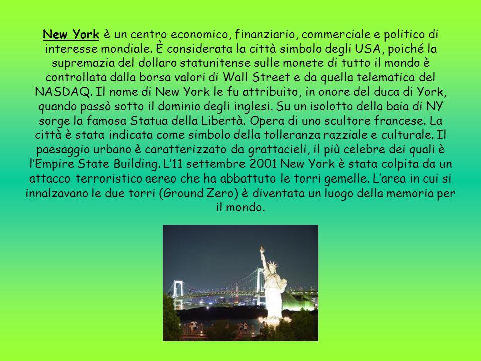 New York è un centro economico, finanziario, commerciale e politico di interesse mondiale. È considerata la città simbolo degli USA, poiché la suprema