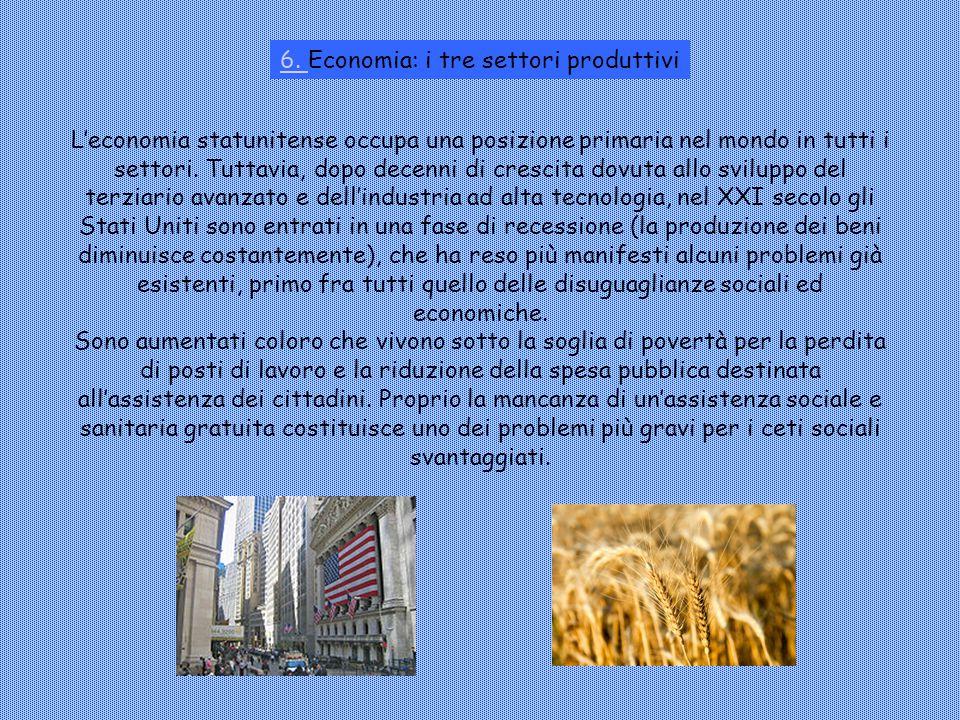 6. 6. Economia: i tre settori produttivi L'economia statunitense occupa una posizione primaria nel mondo in tutti i settori. Tuttavia, dopo decenni di