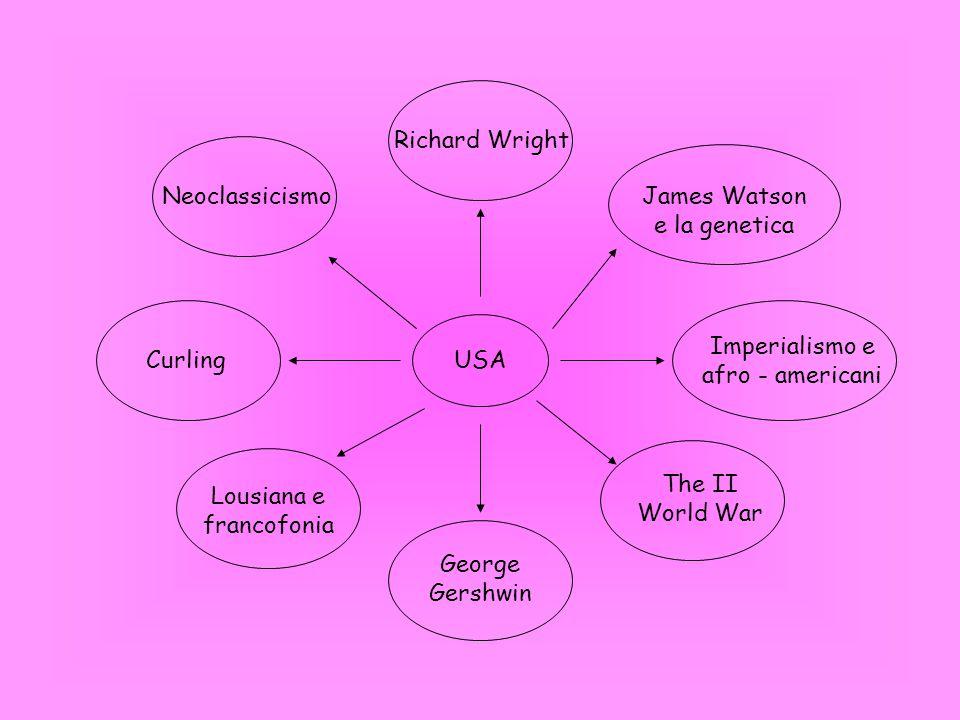 USA The II World War Lousiana e francofonia Curling Imperialismo e afro - americani James Watson e la genetica Neoclassicismo George Gershwin Richard Wright