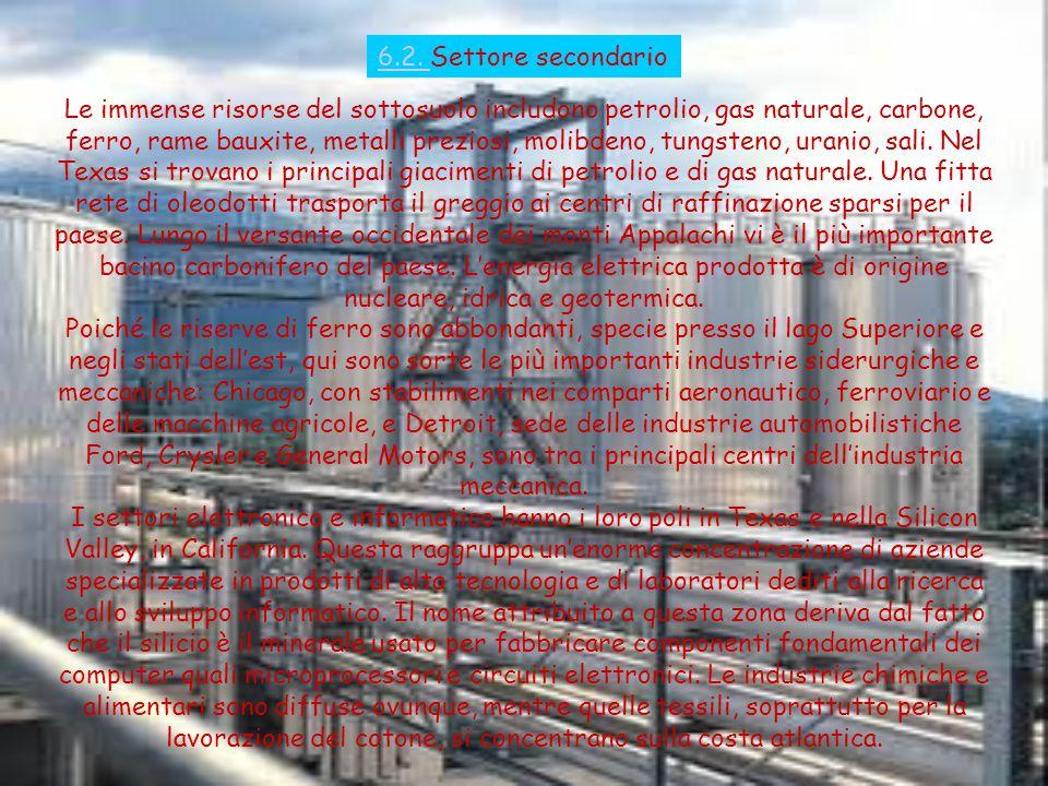 6.2. 6.2. Settore secondario Le immense risorse del sottosuolo includono petrolio, gas naturale, carbone, ferro, rame bauxite, metalli preziosi, molib