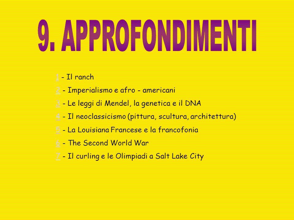 11 - Il ranch 22 - Imperialismo e afro - americani 33 - Le leggi di Mendel, la genetica e il DNA 44 - Il neoclassicismo (pittura, scultura, architettu