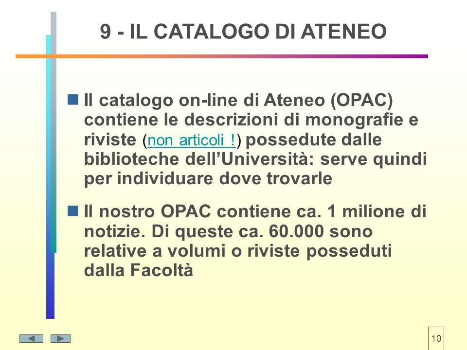 10 9 - IL CATALOGO DI ATENEO Il catalogo on-line di Ateneo (OPAC) contiene le descrizioni di monografie e riviste (non articoli !) possedute dalle biblioteche dell'Università: serve quindi per individuare dove trovarle Il nostro OPAC contiene ca.