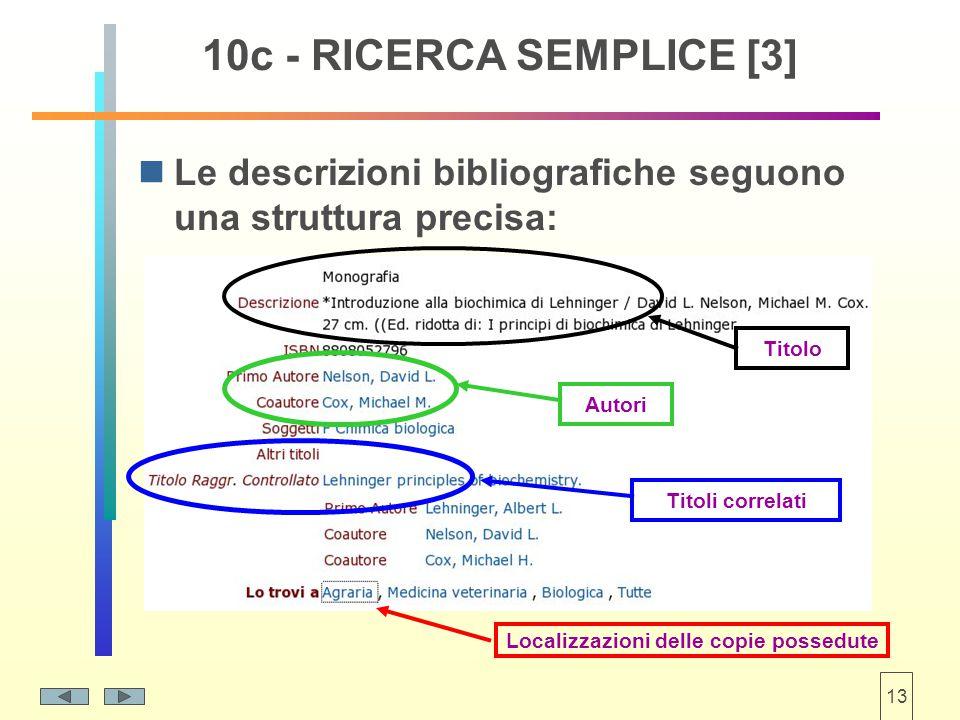 13 Le descrizioni bibliografiche seguono una struttura precisa: 10c - RICERCA SEMPLICE [3] Titolo Titoli correlati Autori Localizzazioni delle copie possedute