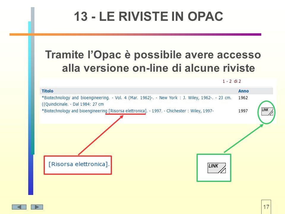 17 Tramite l'Opac è possibile avere accesso alla versione on-line di alcune riviste 13 - LE RIVISTE IN OPAC