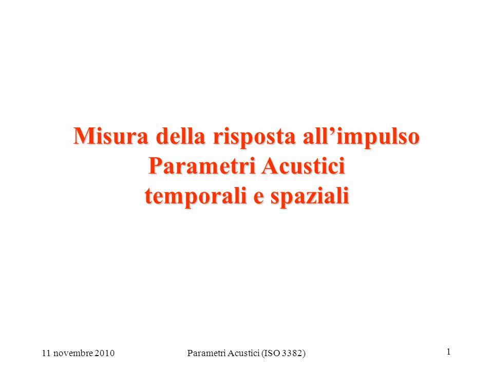11 novembre 2010Parametri Acustici (ISO 3382) 1 Misura della risposta all'impulso Parametri Acustici temporali e spaziali