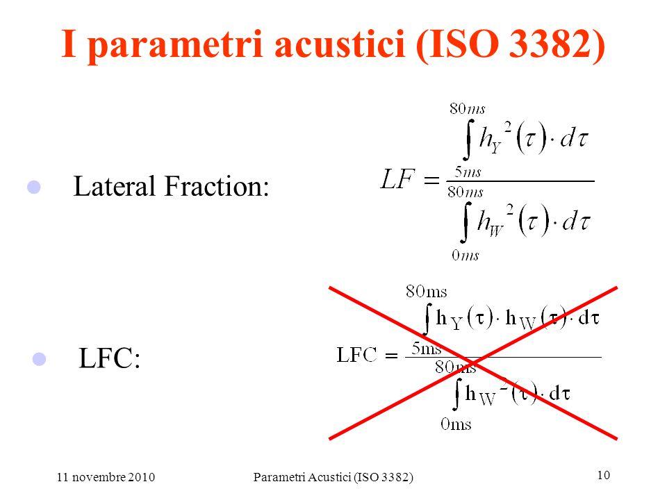 11 novembre 2010Parametri Acustici (ISO 3382) 10 I parametri acustici (ISO 3382) LFC: Lateral Fraction: