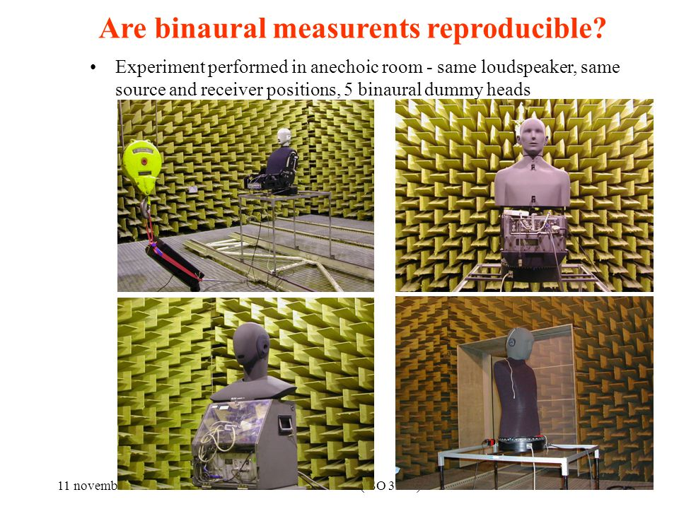 11 novembre 2010Parametri Acustici (ISO 3382) 13 Are binaural measurents reproducible.
