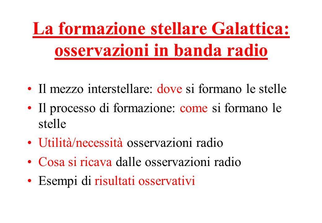 La formazione stellare Galattica: osservazioni in banda radio Il mezzo interstellare: dove si formano le stelle Il processo di formazione: come si formano le stelle Utilità/necessità osservazioni radio Cosa si ricava dalle osservazioni radio Esempi di risultati osservativi