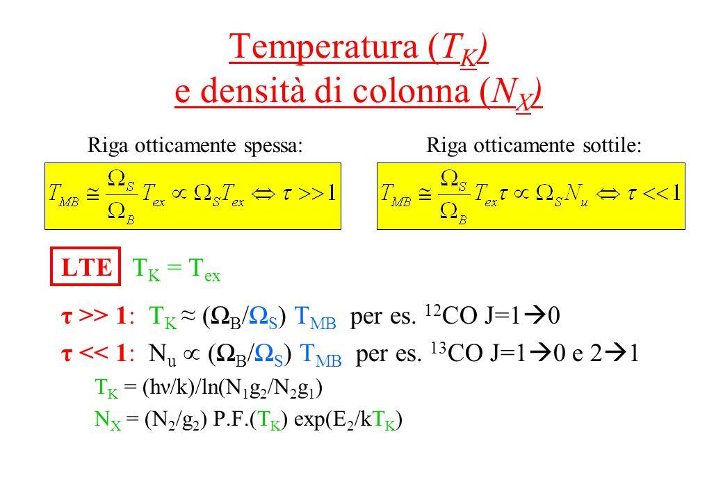 Temperatura (T K ) e densità di colonna (N X ) LTE T K = T ex τ >> 1: T K ≈ (Ω B /Ω S ) T MB per es.