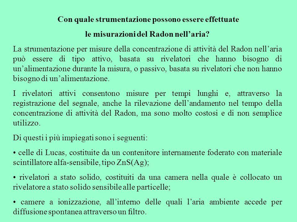 Con quale strumentazione possono essere effettuate le misurazioni del Radon nell'aria? La strumentazione per misure della concentrazione di attività d