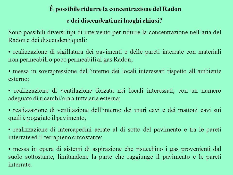 È possibile ridurre la concentrazione del Radon e dei discendenti nei luoghi chiusi.