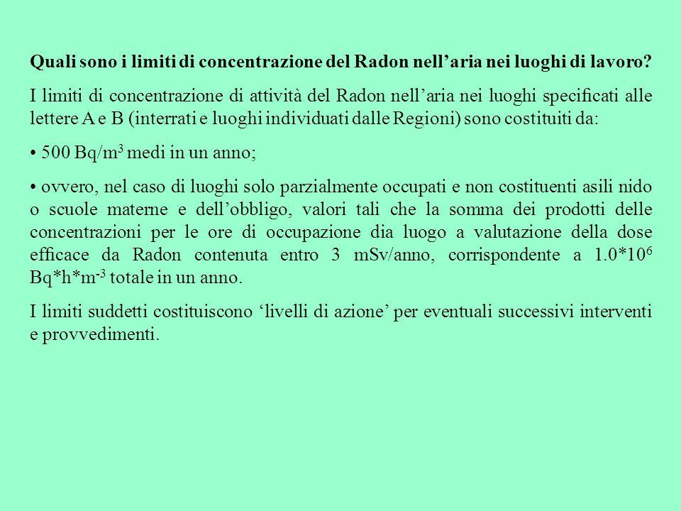 Quali sono i limiti di concentrazione del Radon nell'aria nei luoghi di lavoro.