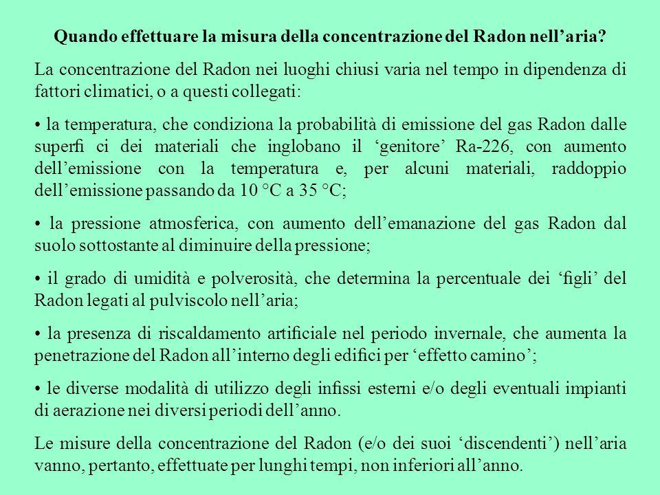 Quando effettuare la misura della concentrazione del Radon nell'aria? La concentrazione del Radon nei luoghi chiusi varia nel tempo in dipendenza di f