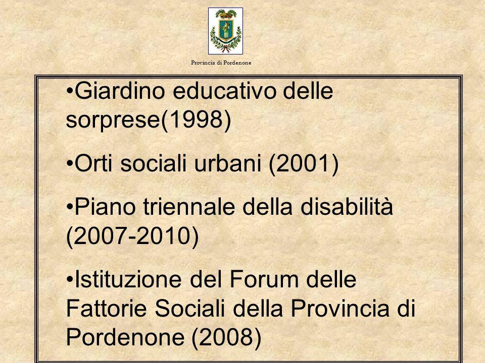 Giardino educativo delle sorprese(1998) Orti sociali urbani (2001) Piano triennale della disabilità (2007-2010) Istituzione del Forum delle Fattorie S