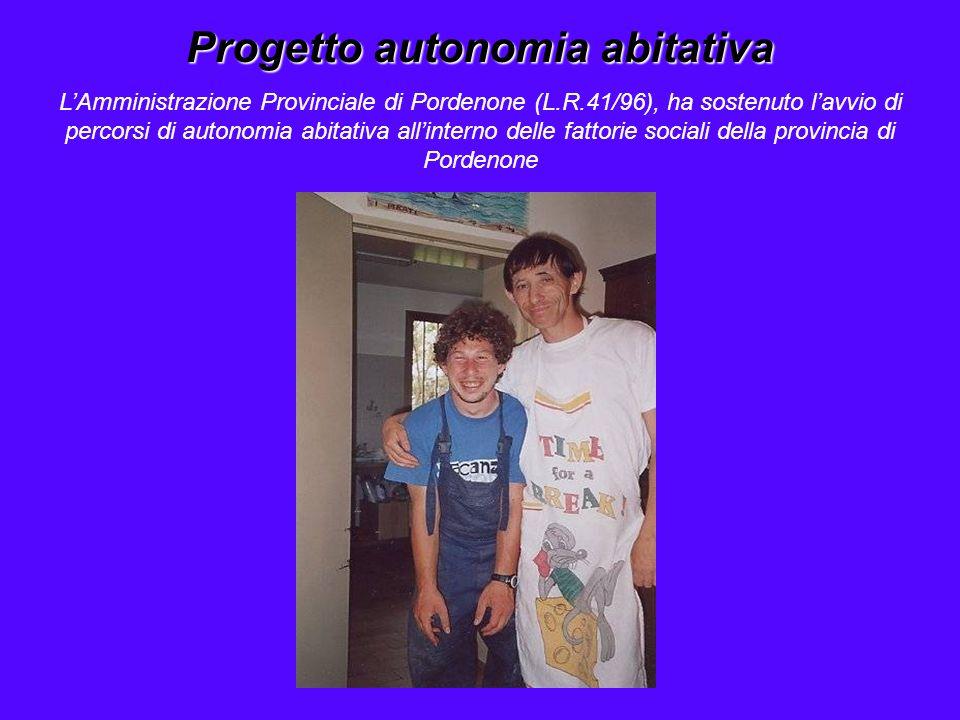 Progetto autonomia abitativa L'Amministrazione Provinciale di Pordenone (L.R.41/96), ha sostenuto l'avvio di percorsi di autonomia abitativa all'inter