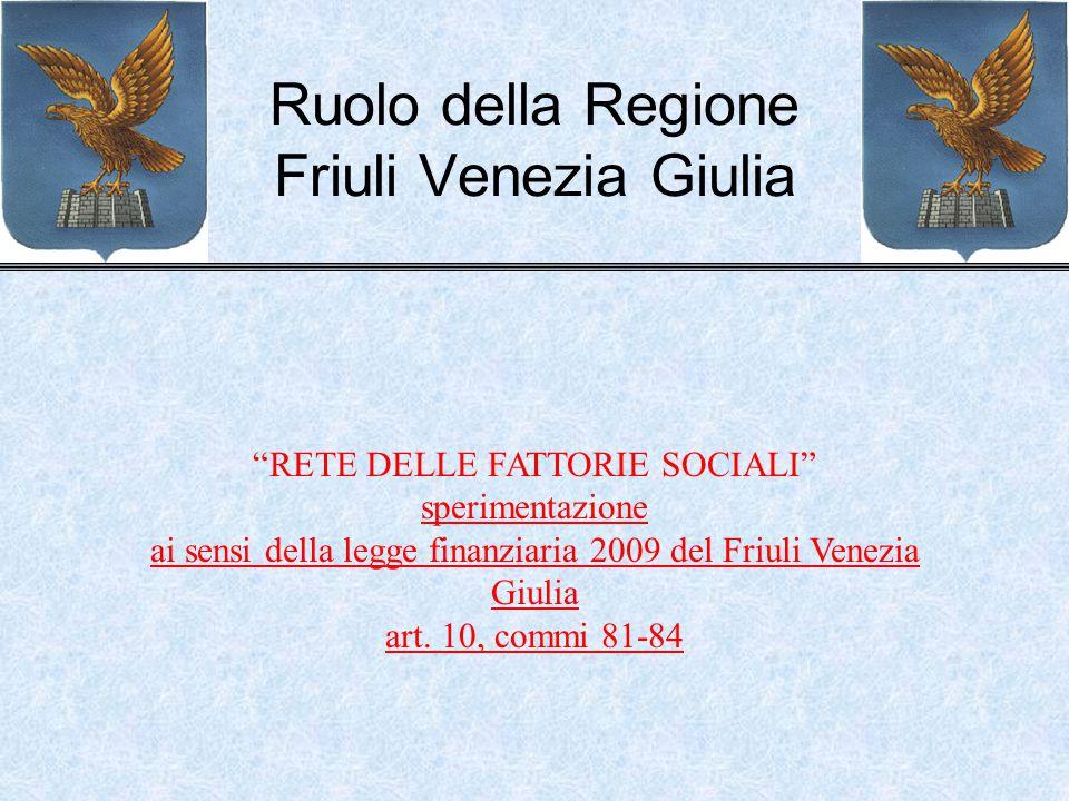 """Ruolo della Regione Friuli Venezia Giulia """"RETE DELLE FATTORIE SOCIALI"""" sperimentazione ai sensi della legge finanziaria 2009 del Friuli Venezia Giuli"""