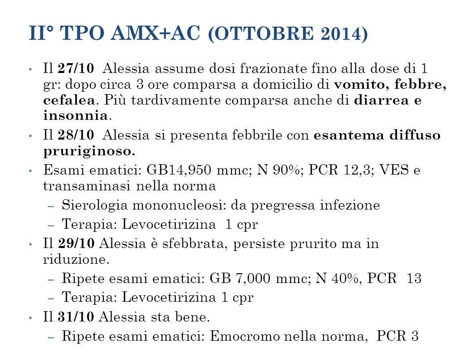 II° TPO AMX+AC (OTTOBRE 2014) Il 27/10 Alessia assume dosi frazionate fino alla dose di 1 gr: dopo circa 3 ore comparsa a domicilio di vomito, febbre,