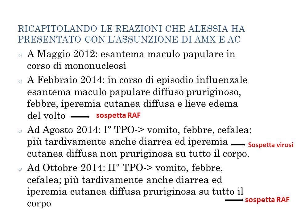 RICAPITOLANDO LE REAZIONI CHE ALESSIA HA PRESENTATO CON L'ASSUNZIONE DI AMX E AC o A Maggio 2012: esantema maculo papulare in corso di mononucleosi o