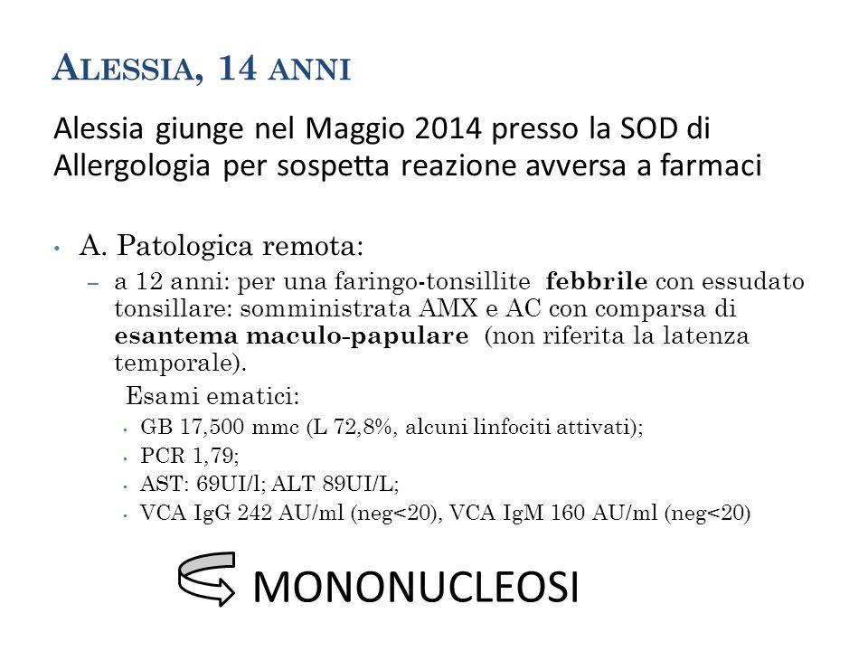 A LESSIA, 14 ANNI Alessia giunge nel Maggio 2014 presso la SOD di Allergologia per sospetta reazione avversa a farmaci A. Patologica remota: – a 12 an