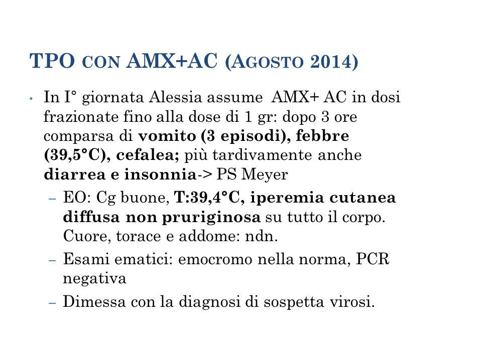II° TPO AMX+AC (OTTOBRE 2014) Il 27/10 Alessia assume dosi frazionate fino alla dose di 1 gr: dopo circa 3 ore comparsa a domicilio di vomito, febbre, cefalea.