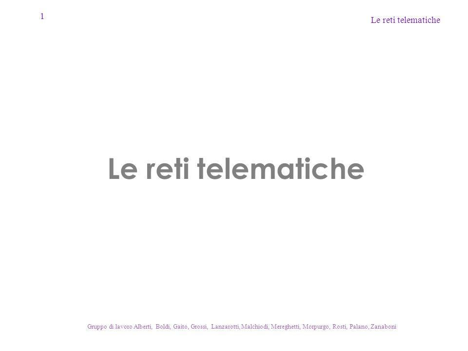 1 Le reti telematiche Gruppo di lavoro Alberti, Boldi, Gaito, Grossi, Lanzarotti, Malchiodi, Mereghetti, Morpurgo, Rosti, Palano, Zanaboni Le reti tel