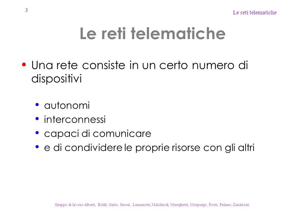 3 Le reti telematiche Gruppo di lavoro Alberti, Boldi, Gaito, Grossi, Lanzarotti, Malchiodi, Mereghetti, Morpurgo, Rosti, Palano, Zanaboni Le reti tel