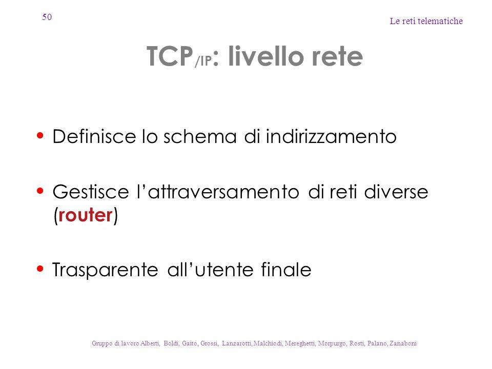 50 Le reti telematiche Gruppo di lavoro Alberti, Boldi, Gaito, Grossi, Lanzarotti, Malchiodi, Mereghetti, Morpurgo, Rosti, Palano, Zanaboni TCP /IP :
