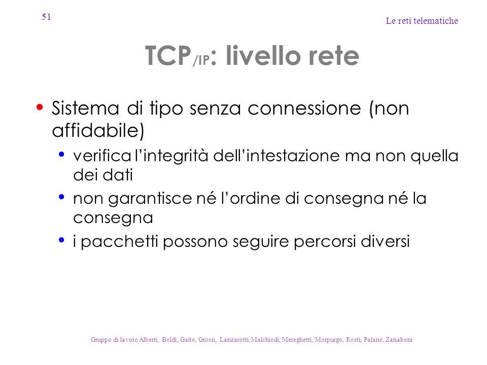 51 Le reti telematiche Gruppo di lavoro Alberti, Boldi, Gaito, Grossi, Lanzarotti, Malchiodi, Mereghetti, Morpurgo, Rosti, Palano, Zanaboni TCP /IP :