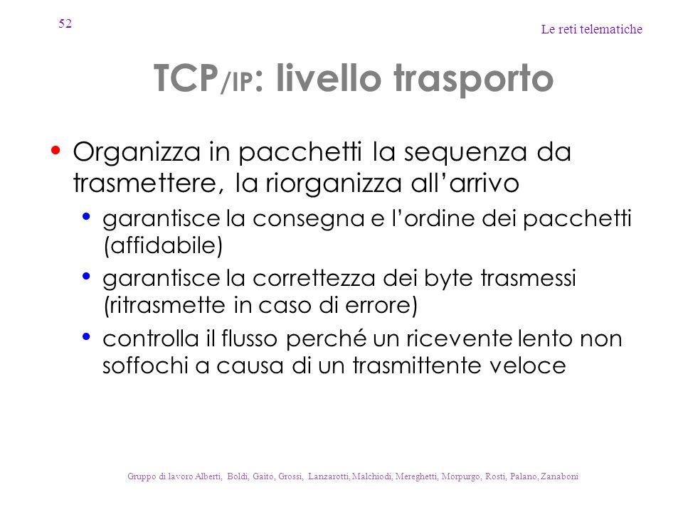 52 Le reti telematiche Gruppo di lavoro Alberti, Boldi, Gaito, Grossi, Lanzarotti, Malchiodi, Mereghetti, Morpurgo, Rosti, Palano, Zanaboni TCP /IP :