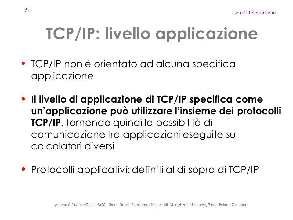 54 Le reti telematiche Gruppo di lavoro Alberti, Boldi, Gaito, Grossi, Lanzarotti, Malchiodi, Mereghetti, Morpurgo, Rosti, Palano, Zanaboni TCP/IP: livello applicazione TCP/IP non è orientato ad alcuna specifica applicazione Il livello di applicazione di TCP/IP specifica come un'applicazione può utilizzare l'insieme dei protocolli TCP/IP, fornendo quindi la possibilità di comunicazione tra applicazioni eseguite su calcolatori diversi Protocolli applicativi: definiti al di sopra di TCP/IP