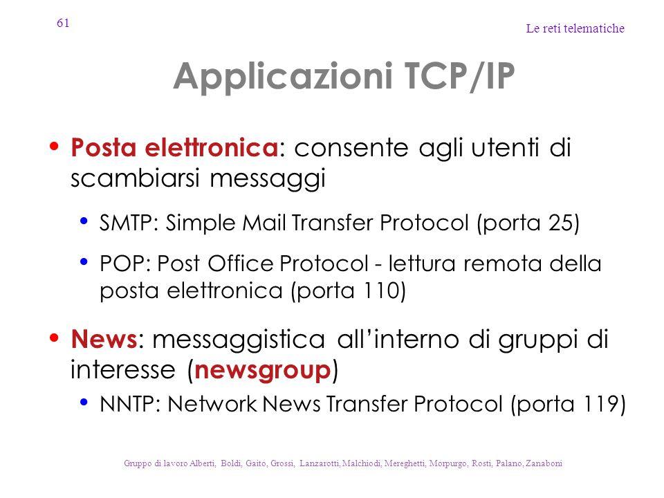 61 Le reti telematiche Gruppo di lavoro Alberti, Boldi, Gaito, Grossi, Lanzarotti, Malchiodi, Mereghetti, Morpurgo, Rosti, Palano, Zanaboni Applicazioni TCP/IP Posta elettronica : consente agli utenti di scambiarsi messaggi SMTP: Simple Mail Transfer Protocol (porta 25) POP: Post Office Protocol - lettura remota della posta elettronica (porta 110) News : messaggistica all'interno di gruppi di interesse ( newsgroup ) NNTP: Network News Transfer Protocol (porta 119)