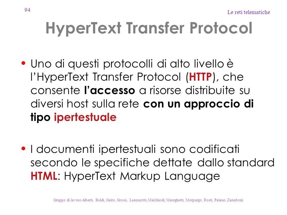 94 Le reti telematiche Gruppo di lavoro Alberti, Boldi, Gaito, Grossi, Lanzarotti, Malchiodi, Mereghetti, Morpurgo, Rosti, Palano, Zanaboni HyperText Transfer Protocol Uno di questi protocolli di alto livello è l'HyperText Transfer Protocol ( HTTP ), che consente l'accesso a risorse distribuite su diversi host sulla rete con un approccio di tipo ipertestuale I documenti ipertestuali sono codificati secondo le specifiche dettate dallo standard HTML : HyperText Markup Language