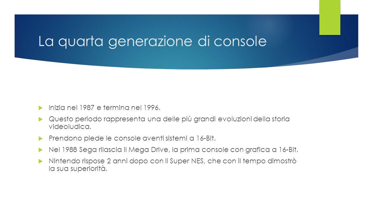 La quarta generazione di console  Inizia nel 1987 e termina nel 1996.  Questo periodo rappresenta una delle più grandi evoluzioni della storia video