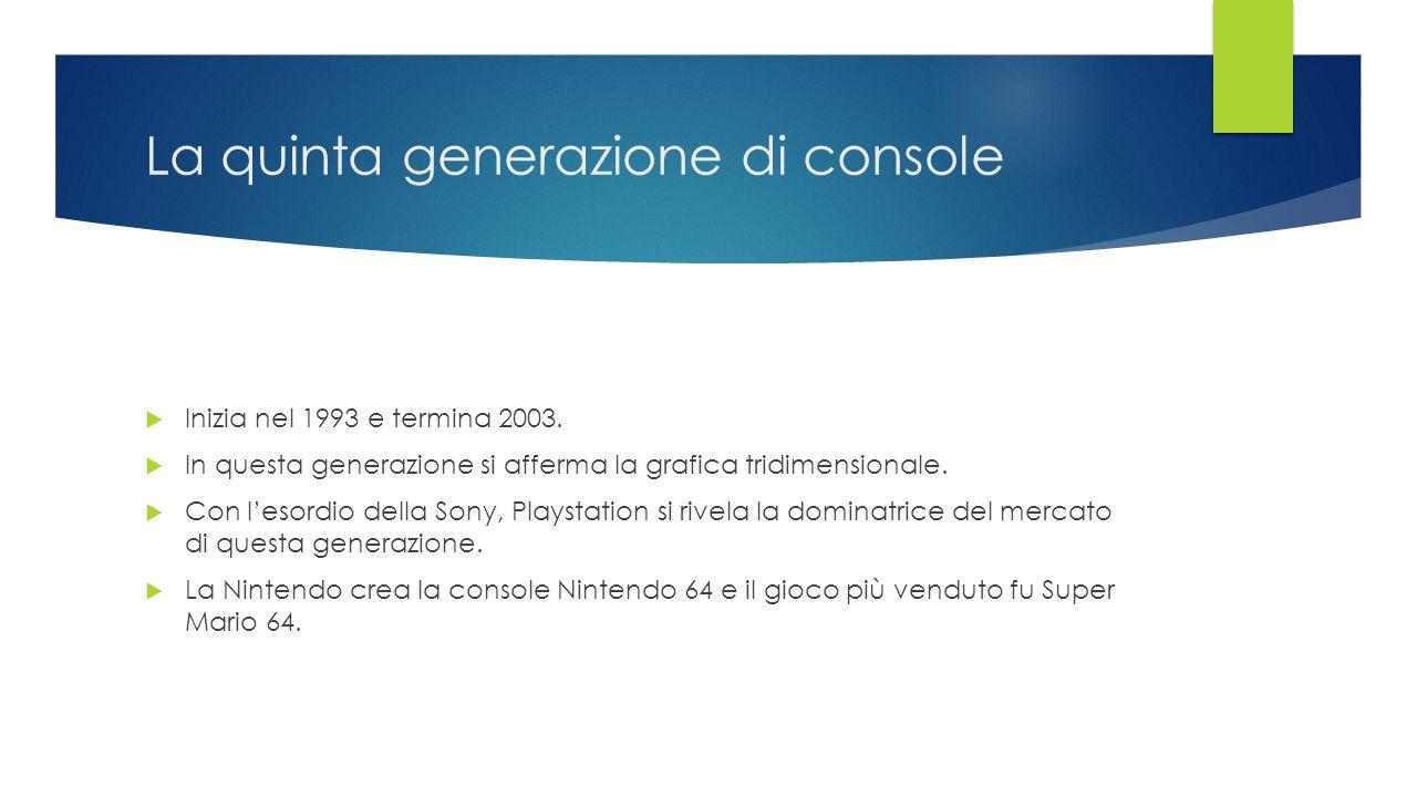 La quinta generazione di console  Inizia nel 1993 e termina 2003.  In questa generazione si afferma la grafica tridimensionale.  Con l'esordio dell