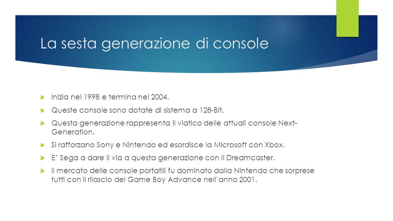 La sesta generazione di console  Inizia nel 1998 e termina nel 2004.  Queste console sono dotate di sistema a 128-Bit.  Questa generazione rapprese