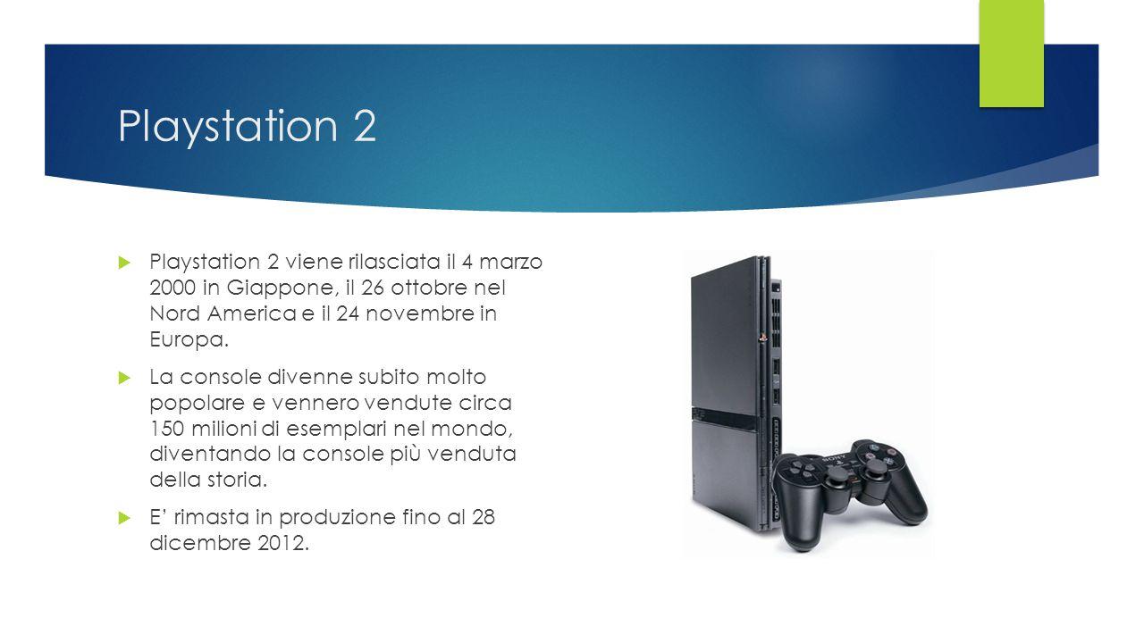 Playstation 2  Playstation 2 viene rilasciata il 4 marzo 2000 in Giappone, il 26 ottobre nel Nord America e il 24 novembre in Europa.  La console di
