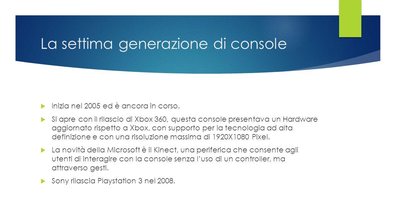 La settima generazione di console  Inizia nel 2005 ed è ancora in corso.  Si apre con il rilascio di Xbox 360, questa console presentava un Hardware