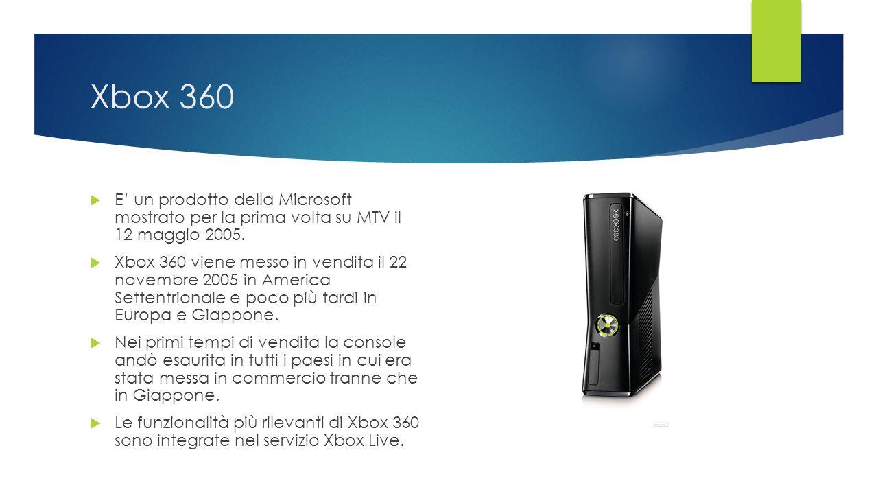 Xbox 360  E' un prodotto della Microsoft mostrato per la prima volta su MTV il 12 maggio 2005.  Xbox 360 viene messo in vendita il 22 novembre 2005