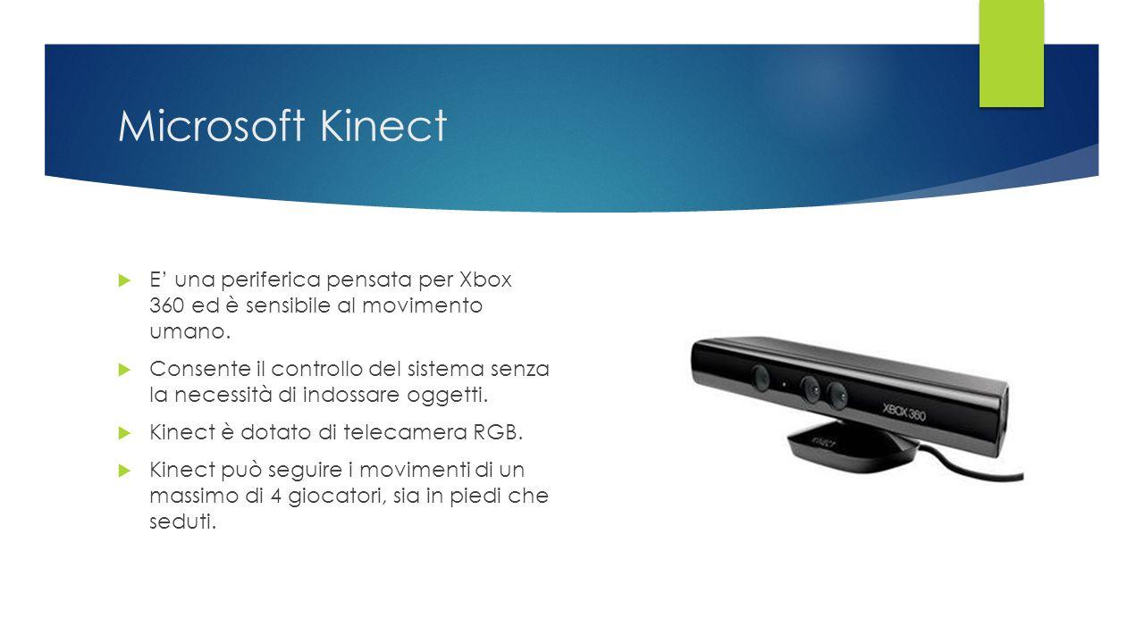Microsoft Kinect  E' una periferica pensata per Xbox 360 ed è sensibile al movimento umano.  Consente il controllo del sistema senza la necessità di