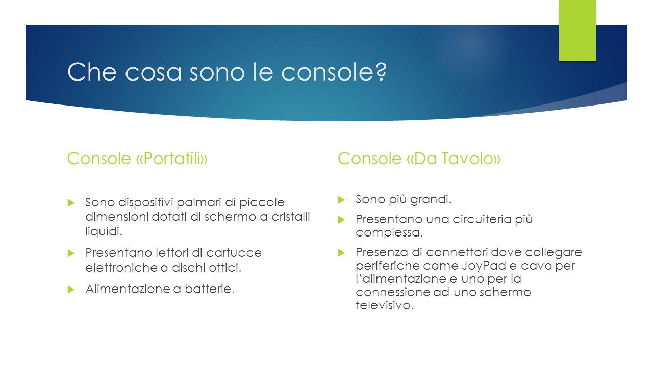 Che cosa sono le console? Console «Portatili»  Sono dispositivi palmari di piccole dimensioni dotati di schermo a cristalli liquidi.  Presentano let