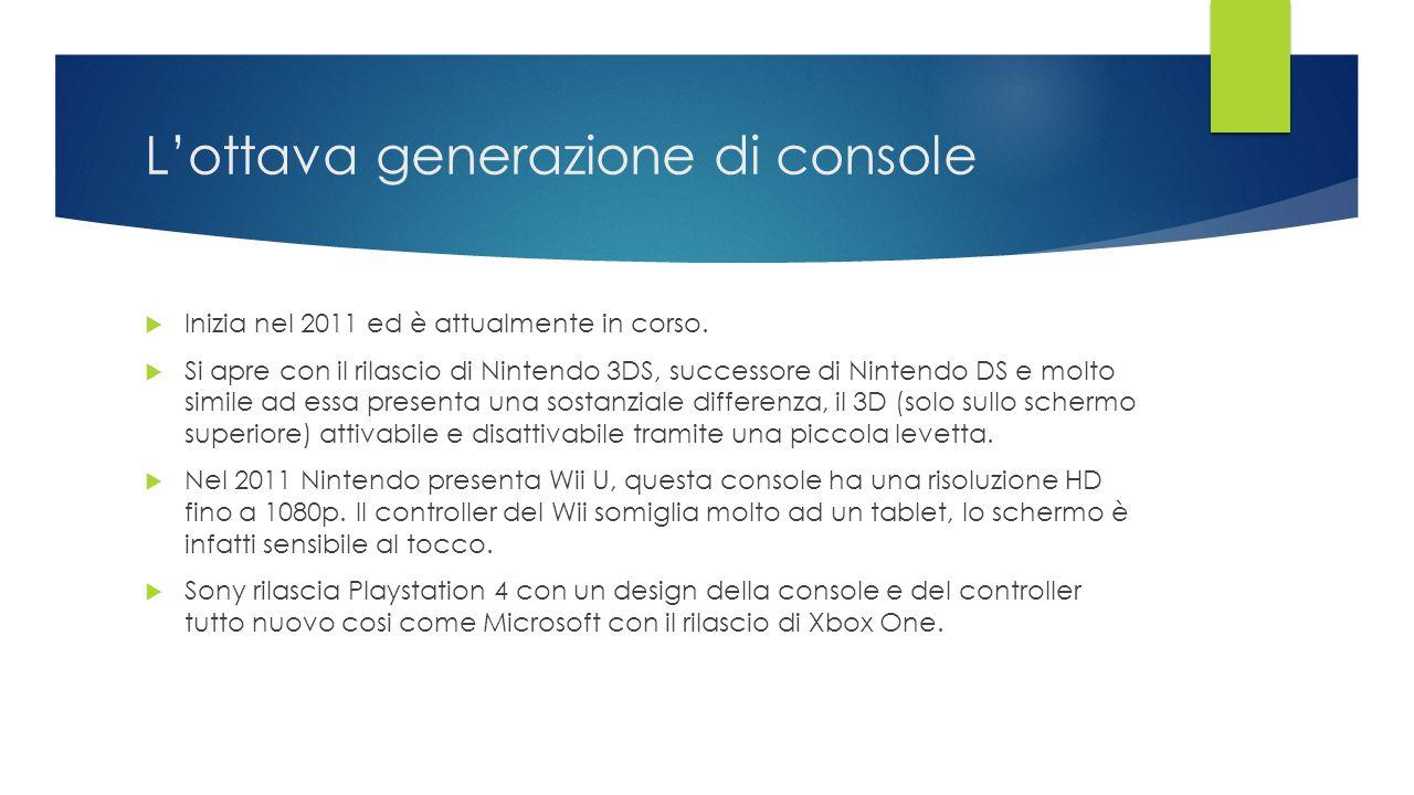 L'ottava generazione di console  Inizia nel 2011 ed è attualmente in corso.  Si apre con il rilascio di Nintendo 3DS, successore di Nintendo DS e mo