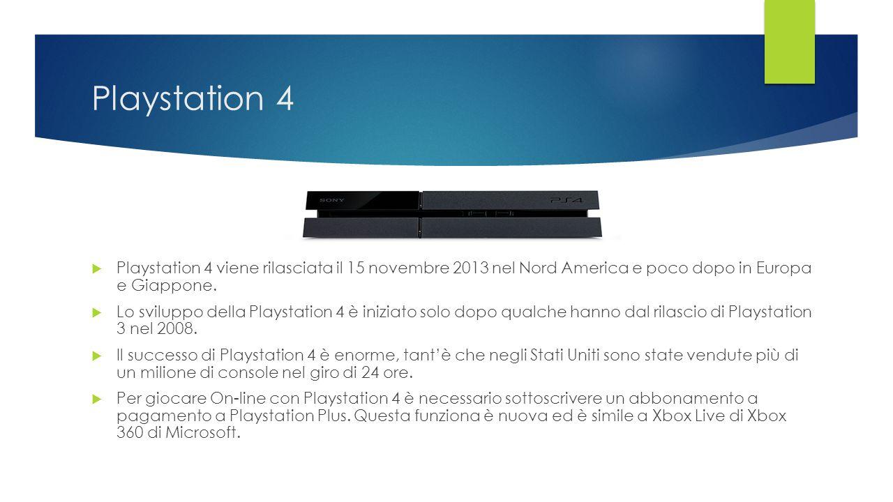 Playstation 4  Playstation 4 viene rilasciata il 15 novembre 2013 nel Nord America e poco dopo in Europa e Giappone.  Lo sviluppo della Playstation