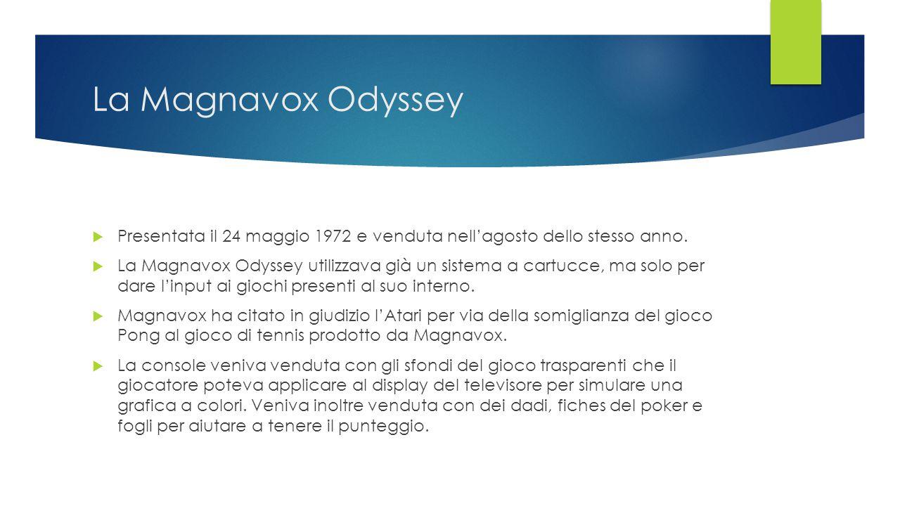 La Magnavox Odyssey  Presentata il 24 maggio 1972 e venduta nell'agosto dello stesso anno.  La Magnavox Odyssey utilizzava già un sistema a cartucce