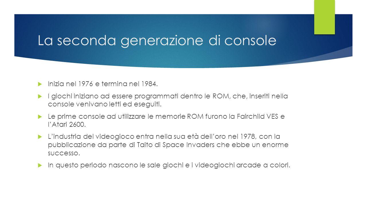 La seconda generazione di console  Inizia nel 1976 e termina nel 1984.  I giochi iniziano ad essere programmati dentro le ROM, che, inseriti nella c