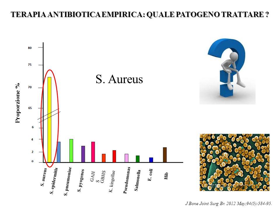 TERAPIA ANTIBIOTICA EMPIRICA: QUALE PATOGENO TRATTARE ? S. aureus S. epidermitis S. pyogenes S. pneumoniae GAH S GBHS K. kingellae Proporzione % Hib E
