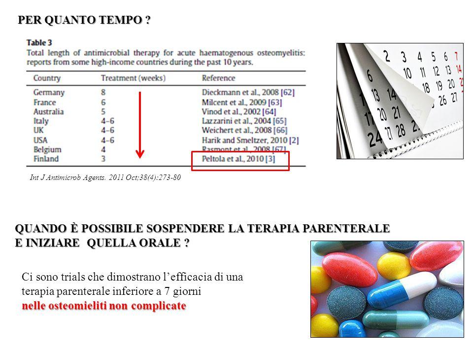 PER QUANTO TEMPO ? Int J Antimicrob Agents. 2011 Oct;38(4):273-80 QUANDO È POSSIBILE SOSPENDERE LA TERAPIA PARENTERALE E INIZIARE QUELLA ORALE ? E INI