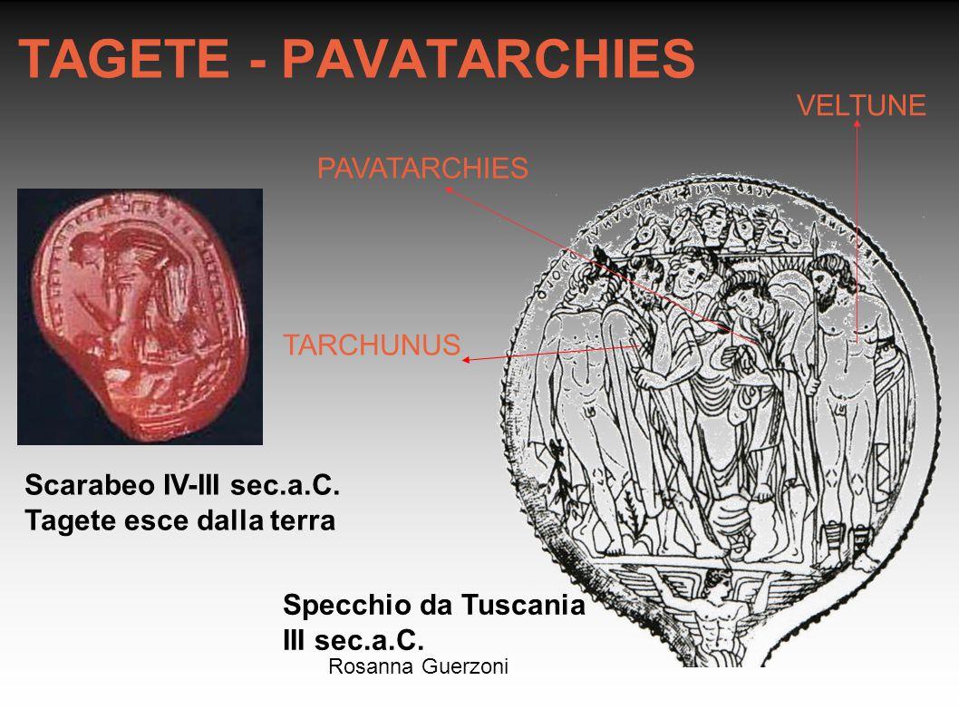 Rosanna Guerzoni TAGETE - PAVATARCHIES VELTUNE PAVATARCHIES Specchio da Tuscania III sec.a.C. TARCHUNUS Scarabeo IV-III sec.a.C. Tagete esce dalla ter