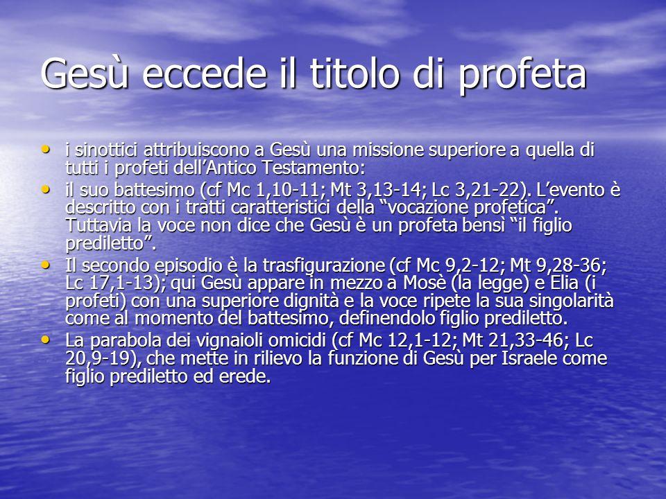 Gesù eccede il titolo di profeta i sinottici attribuiscono a Gesù una missione superiore a quella di tutti i profeti dell'Antico Testamento: i sinotti