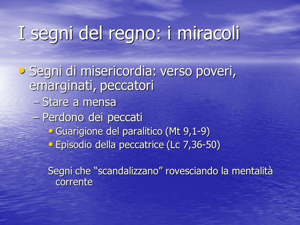 I segni del regno: i miracoli Segni di misericordia: verso poveri, emarginati, peccatori Segni di misericordia: verso poveri, emarginati, peccatori –S